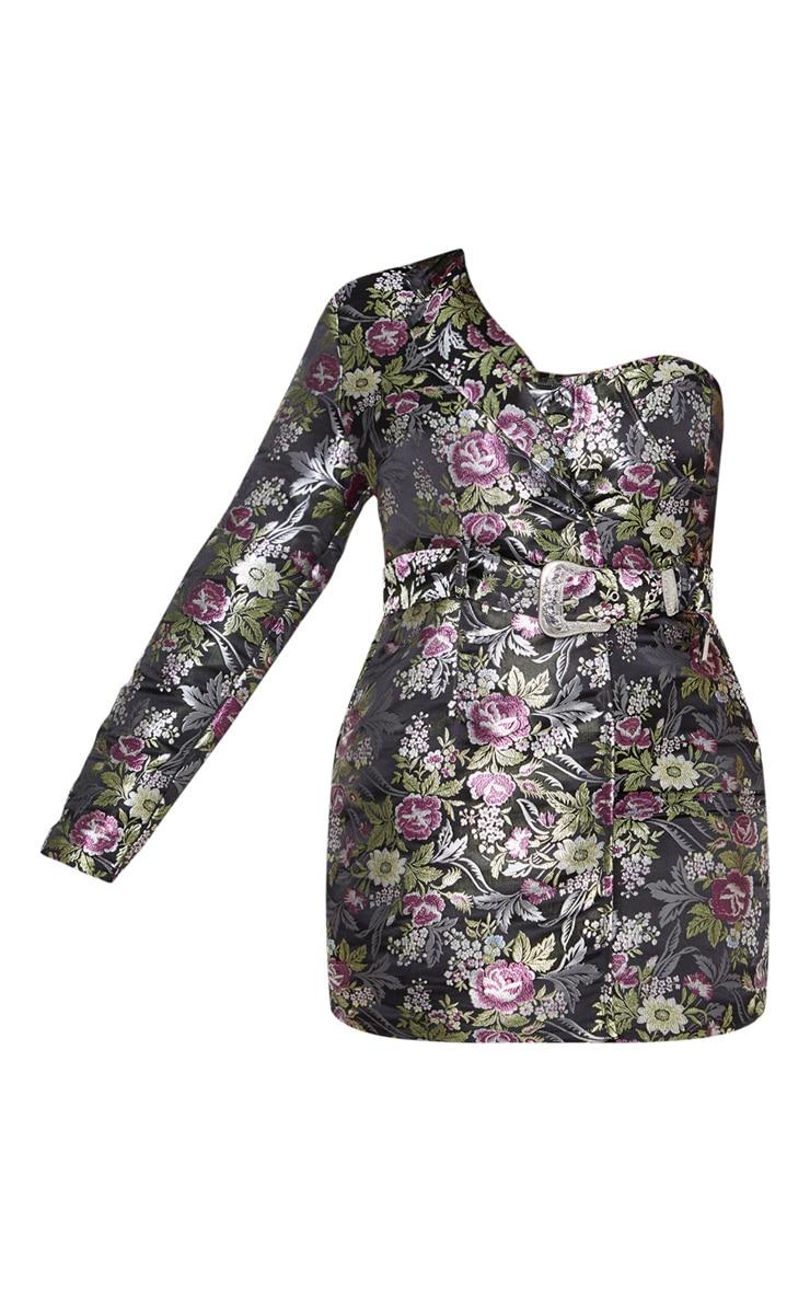 Plus Black Oriental One Shoulder Bodycon Dress 3