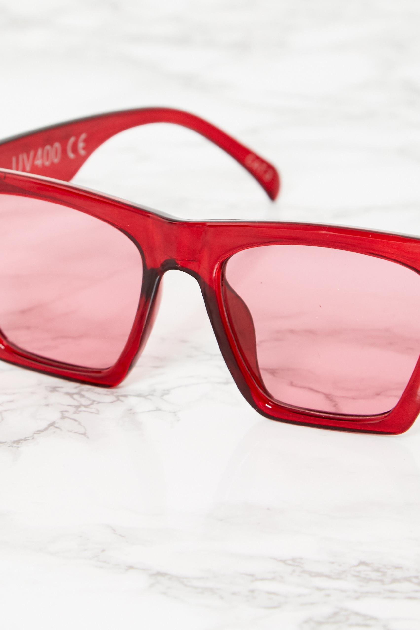 Red Angular Sunglasses 4