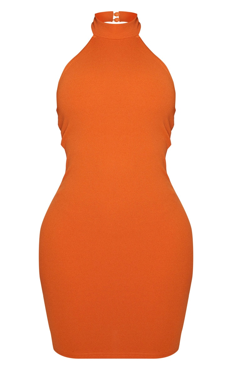 Shape Terracotta Crepe Halterneck Bodycon Dress 5
