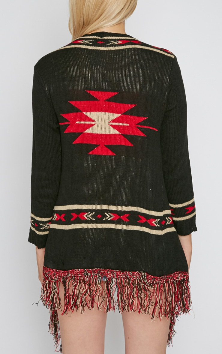 Caley Black & Red Aztec Knit Chunky Cardigan 2