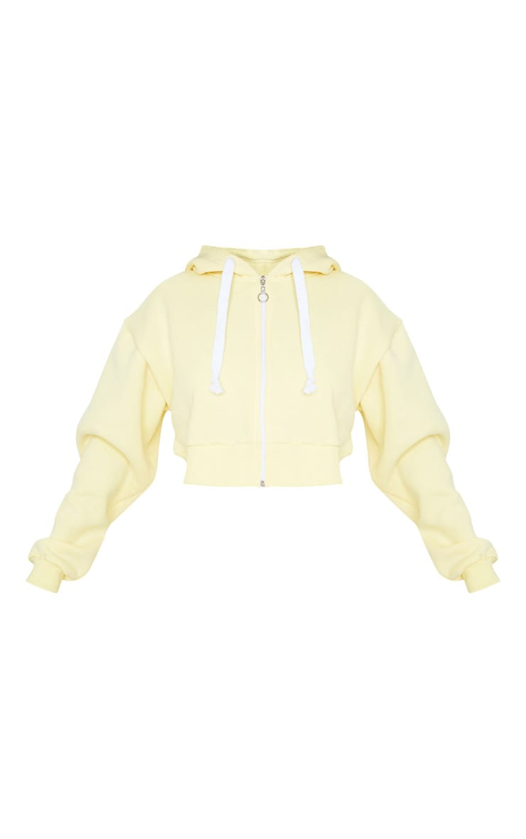 Yellow Thick Zip Up Drawstring Cropped Hoodie 5