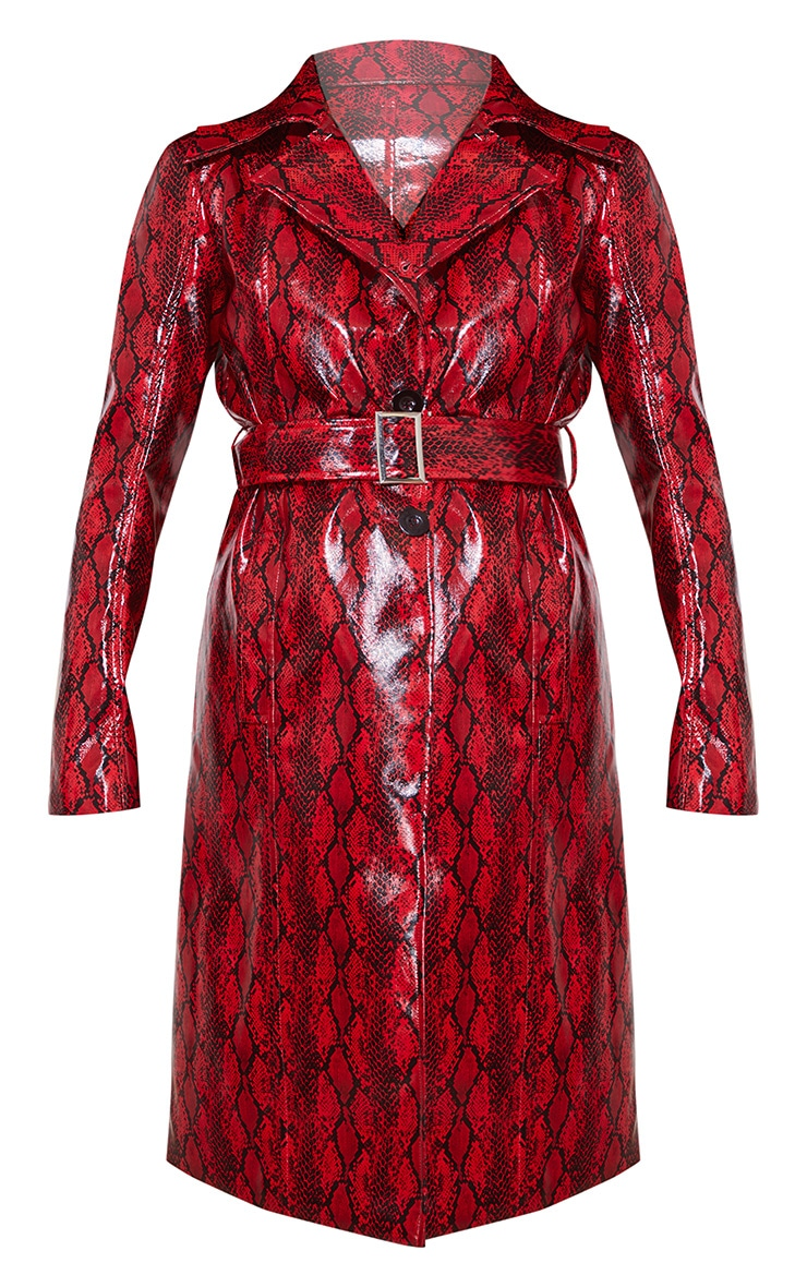 Red Snake Vinyl Trench Coat 4