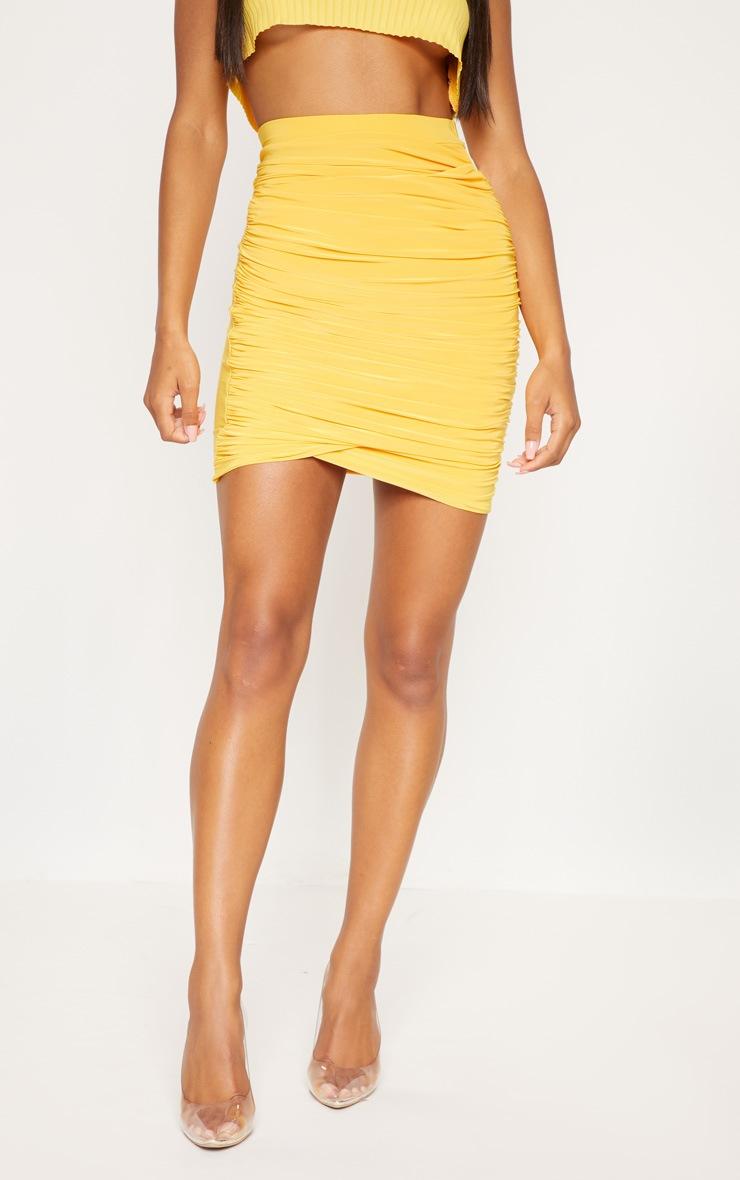 Mustard Ruched Layered Slinky Mini Skirt 2