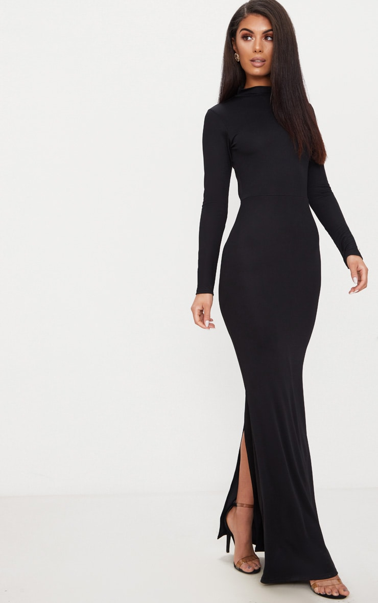 Black High Neck Open Back Maxi Dress 3