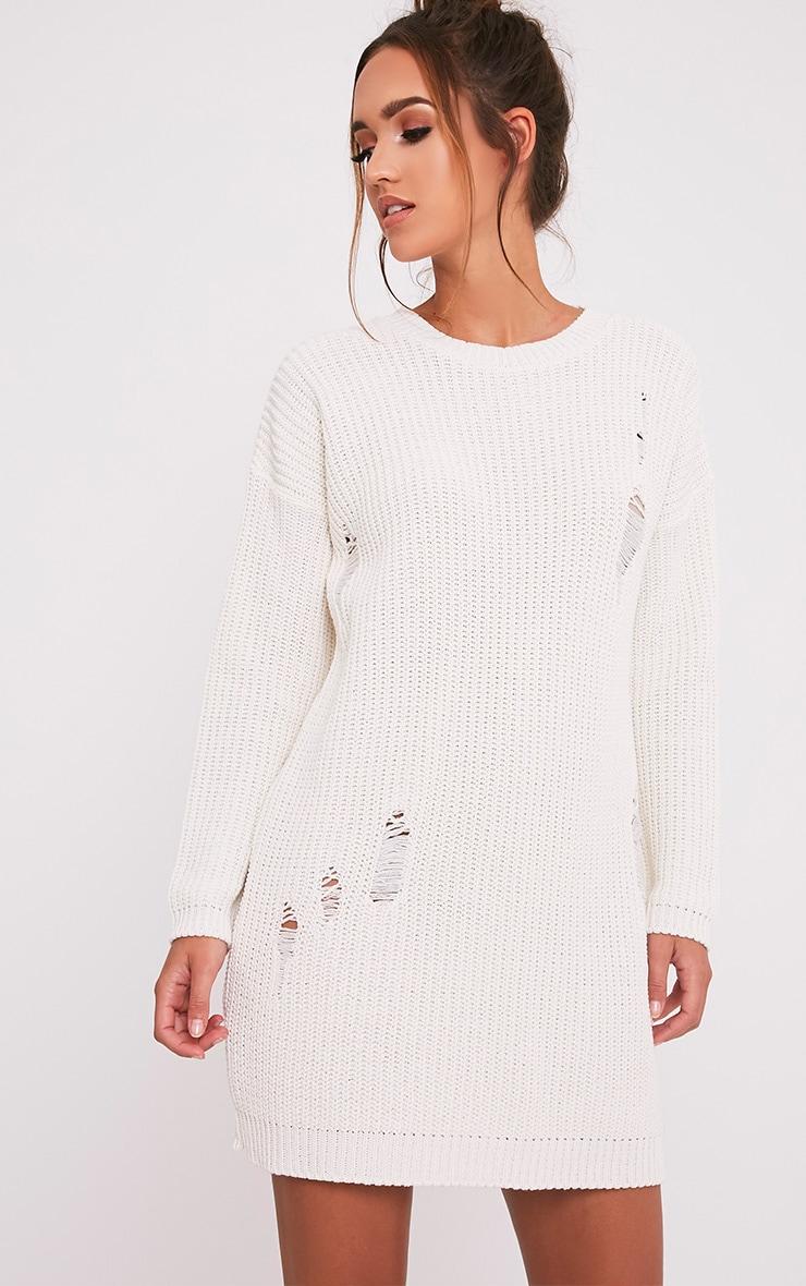 Nico robe pull surdimensionnée crème aspect vieilli 4