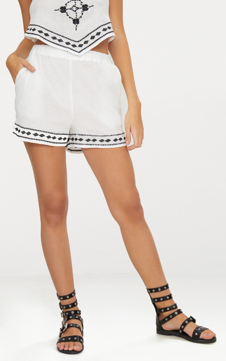 White Embroidered Stitch Detail Shorts 2