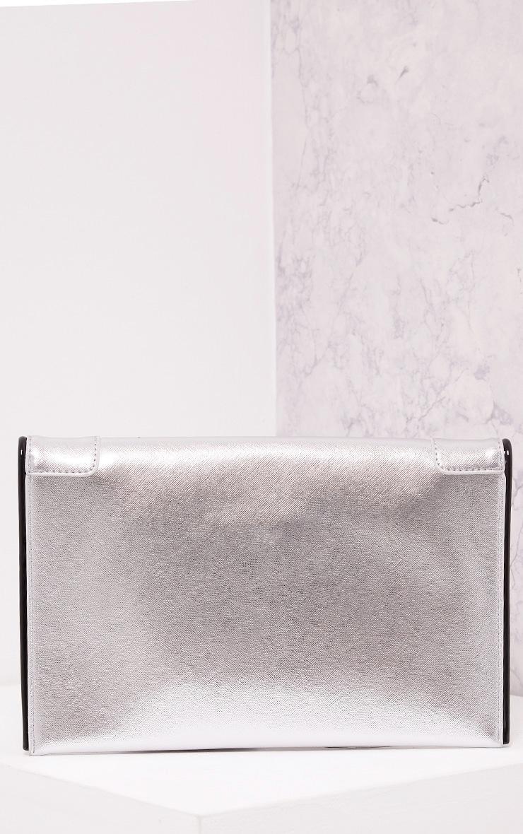 Wilona Silver Metallic Envelope Clutch 3