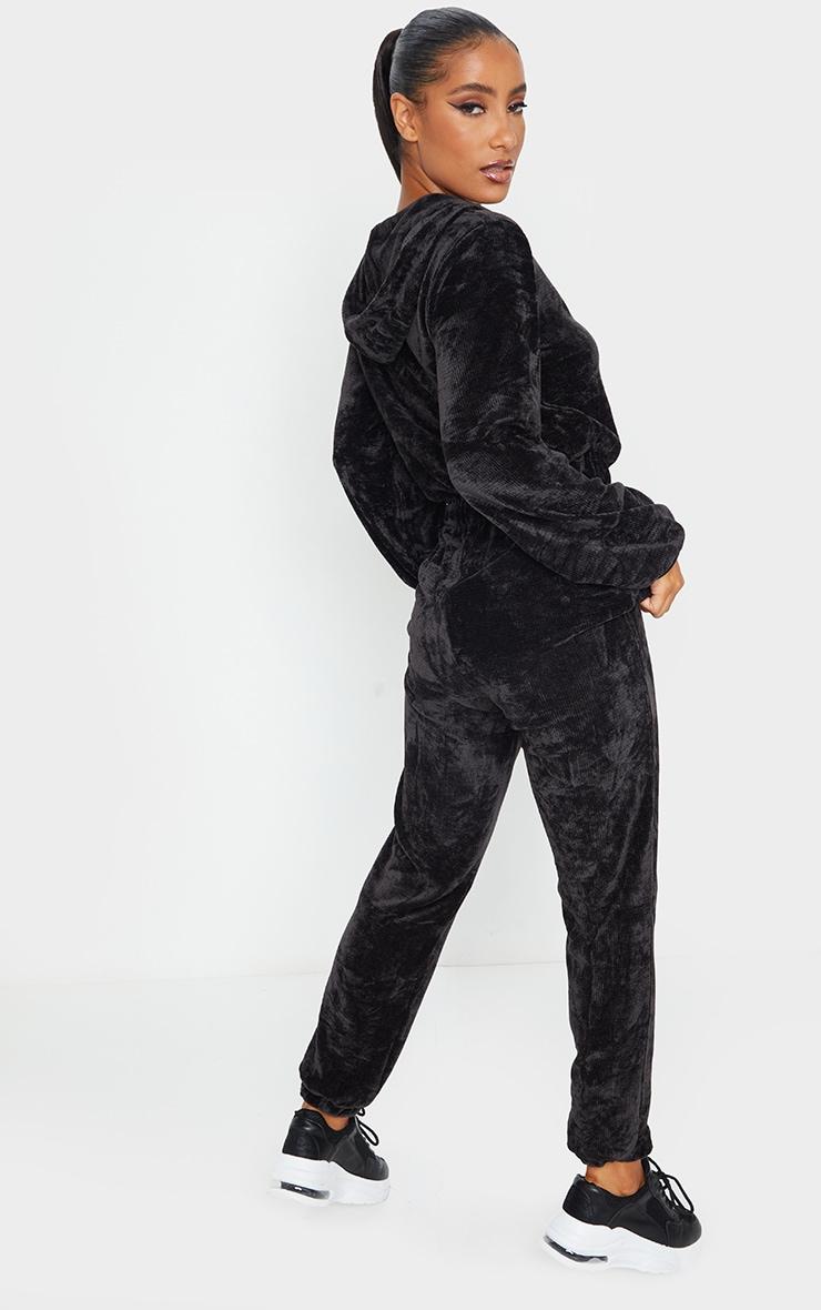 Black Ribbed Velour Hooded Jumpsuit 2