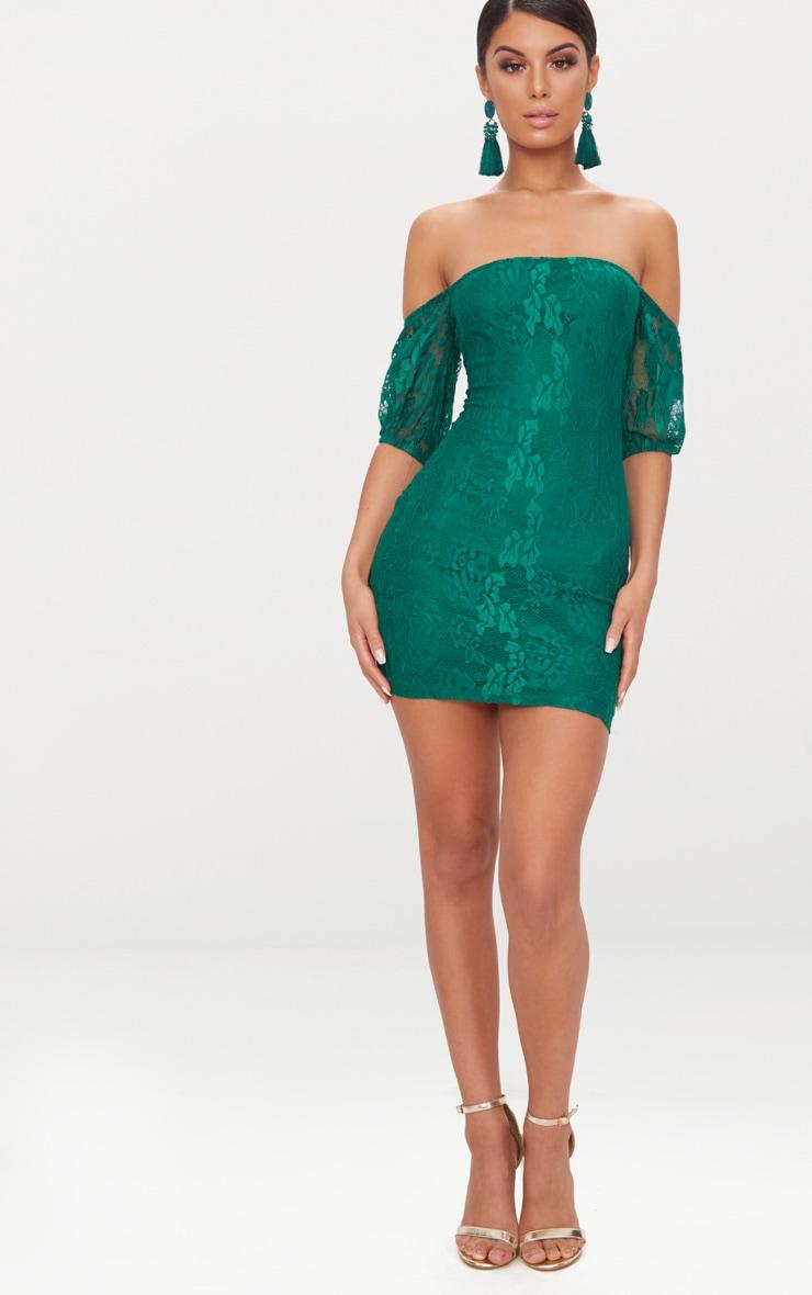 Emerald Green Lace Bardot Puff Sleeve Bodycon Dress 4