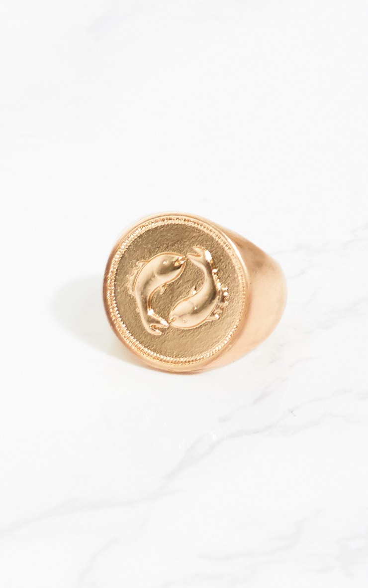 Gold Zodiac Pisces Sovereign Ring 2