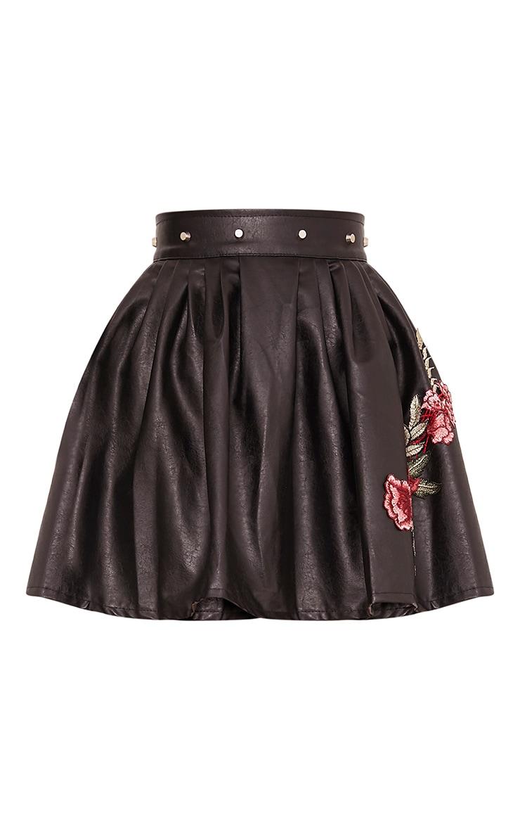 Dianora Black Studded PU Skater Skirt 3