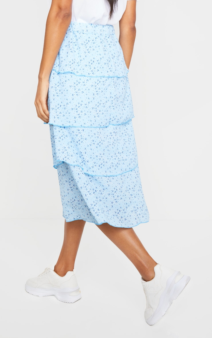 Baby Blue Ditsy Floral Tiered Midi Skirt 3