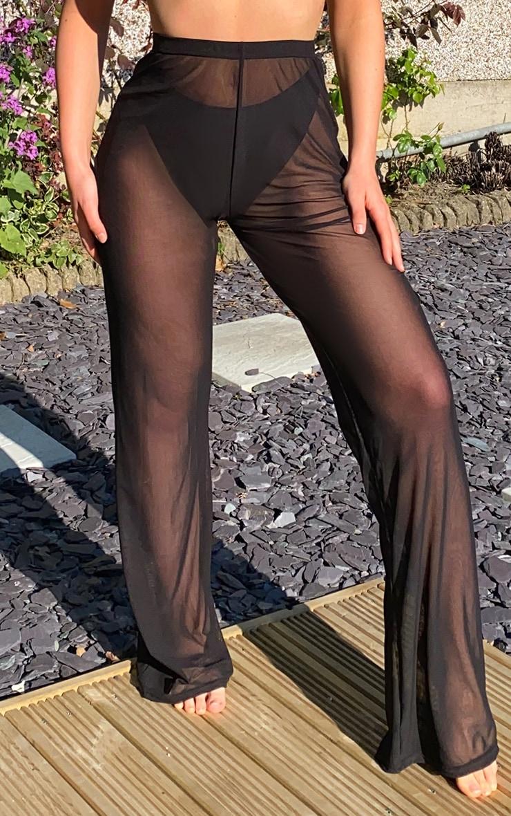 Black Mesh Beach Wide Leg Pants 2