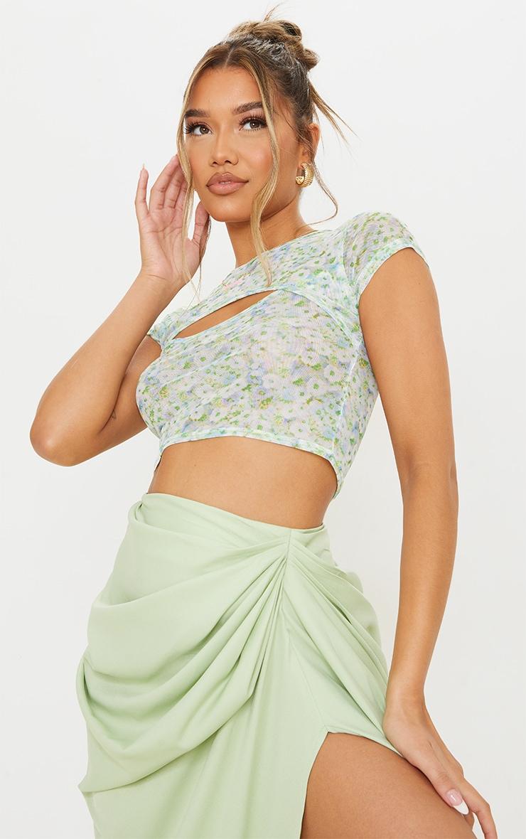 Blue Mesh Floral Print Cut Out Short Sleeve Crop Top