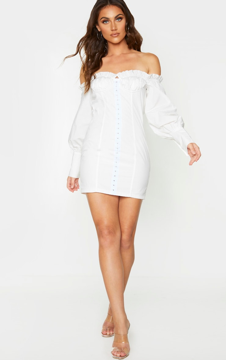 White Bardot Ruched Cup Hook & Eye Bodycon Dress 3