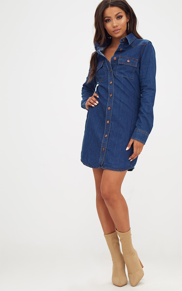 Dark Wash Button Up Denim Shirt Dress 4