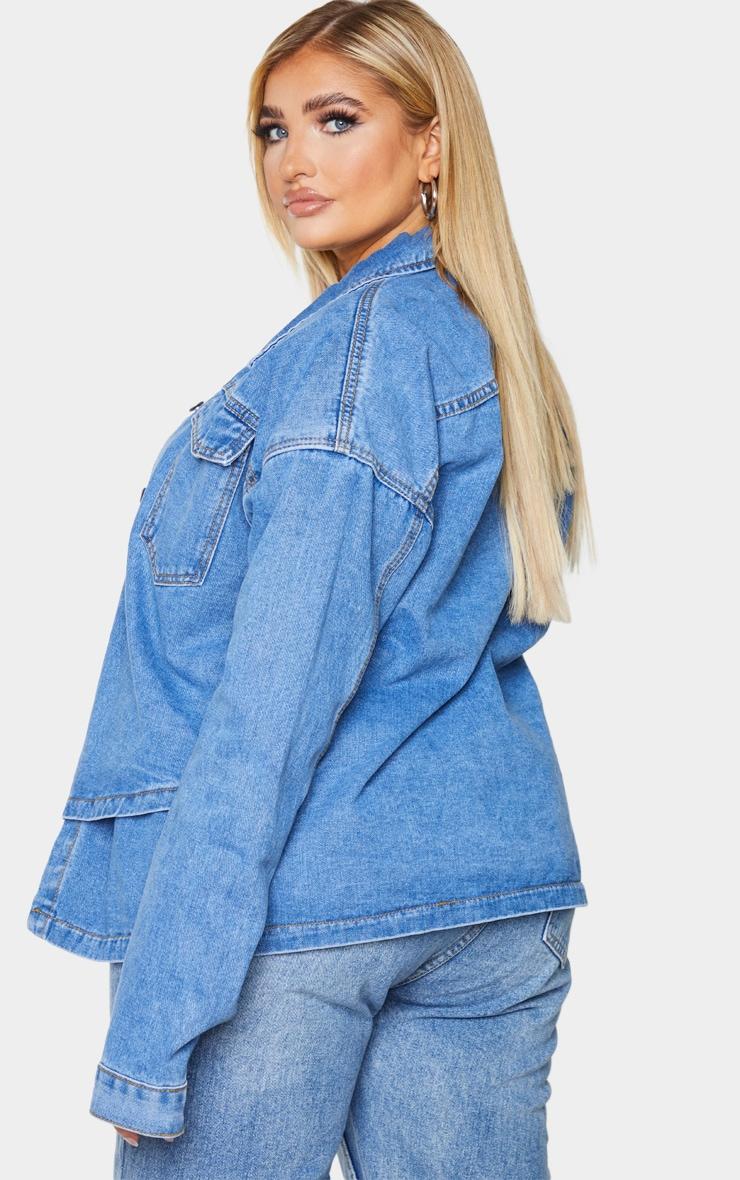 Plus Mid Blue Washed Denim Overlay Jacket 2
