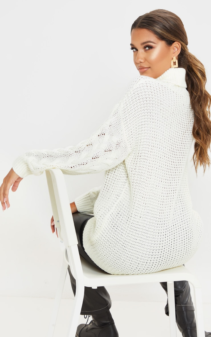 Ivory Chunky Knitted Cable Sleeve Jumper 2