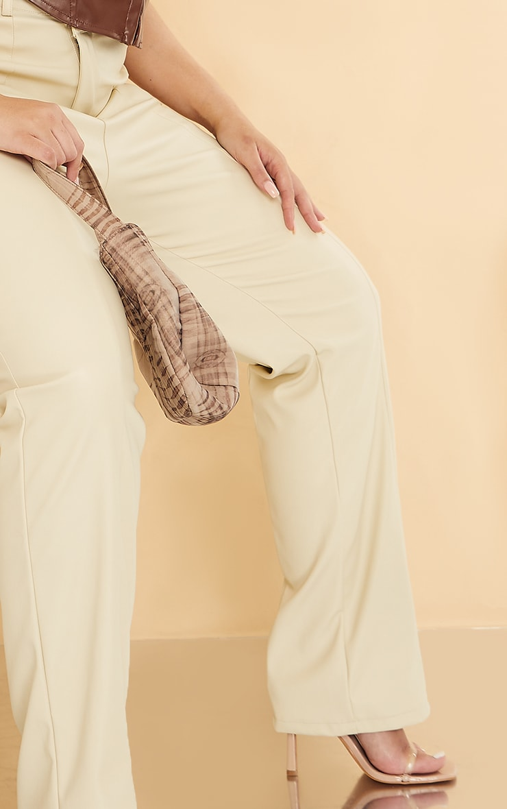 Plus Cream Faux Leather V Front Skinny Trousers 4