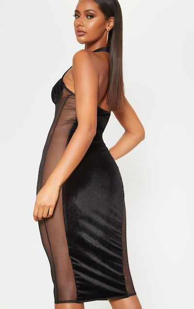 Black Velvet Mesh Insert Halterneck Midi Dress
