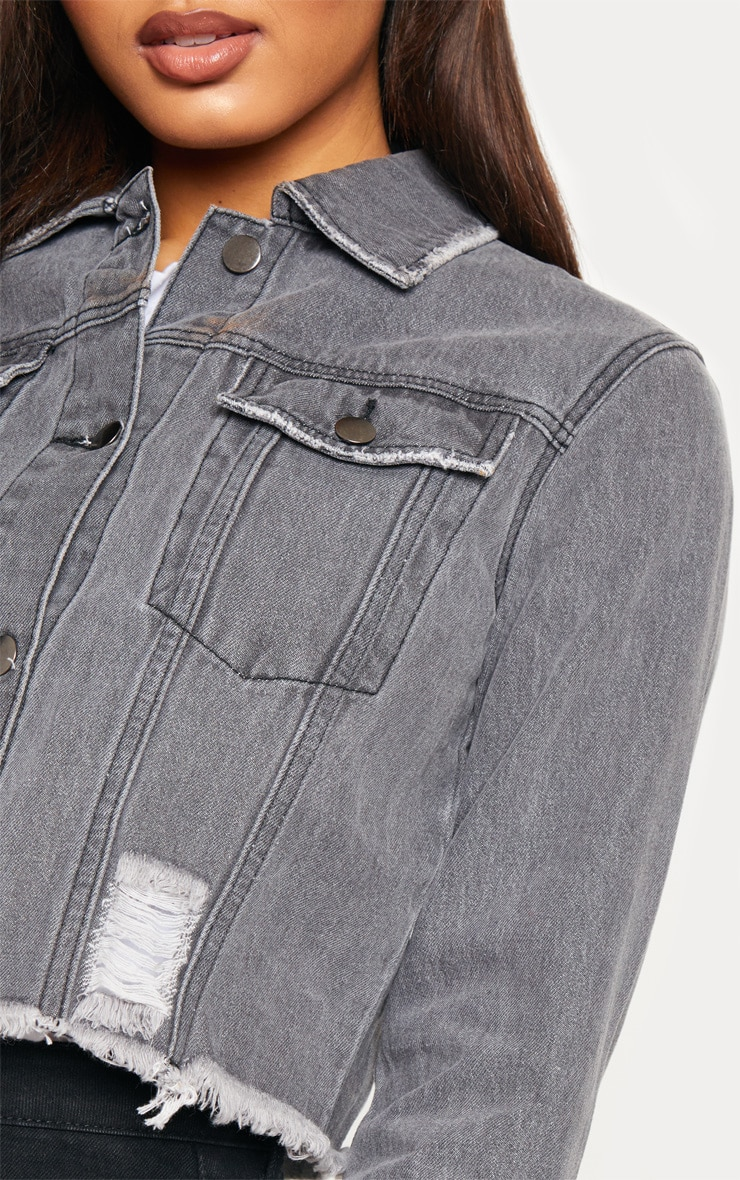 Tall Charcoal Cropped Denim Jacket 5
