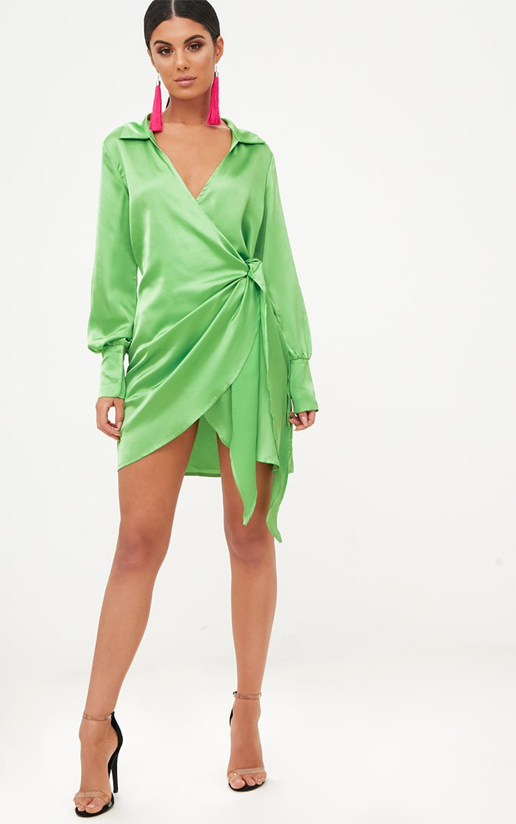 Lime Satin Deep Cuff Wrap Front Shift Dress  4