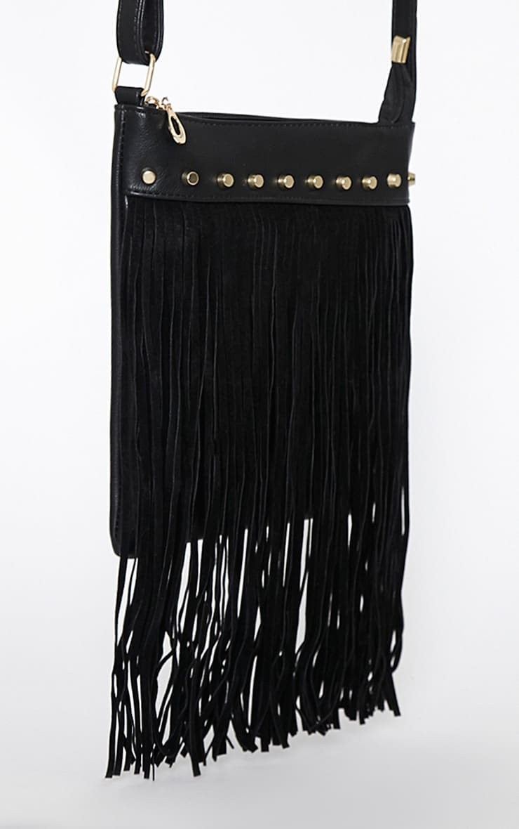 Celise Black Suedette Tassel Bag 7