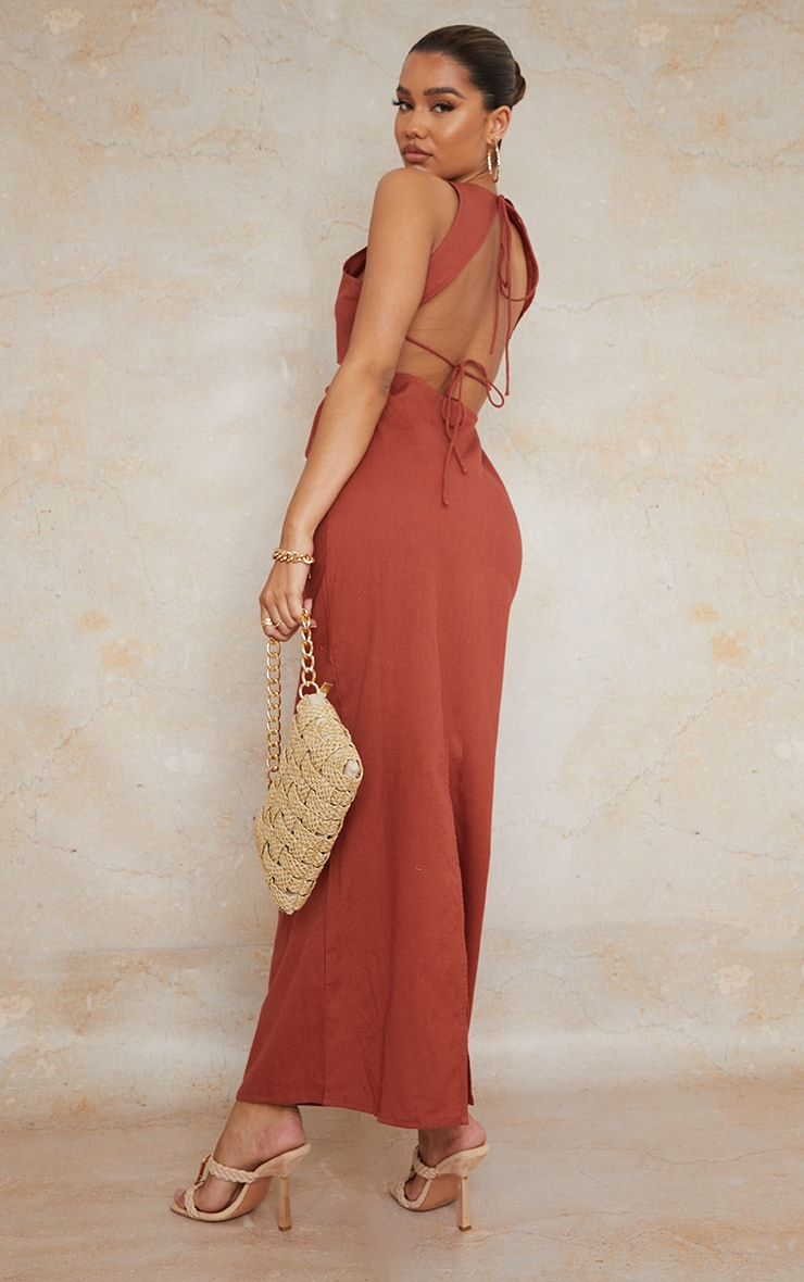 Burnt Clay  Linen Look Binding Strappy Tie Back Maxi Dress 1