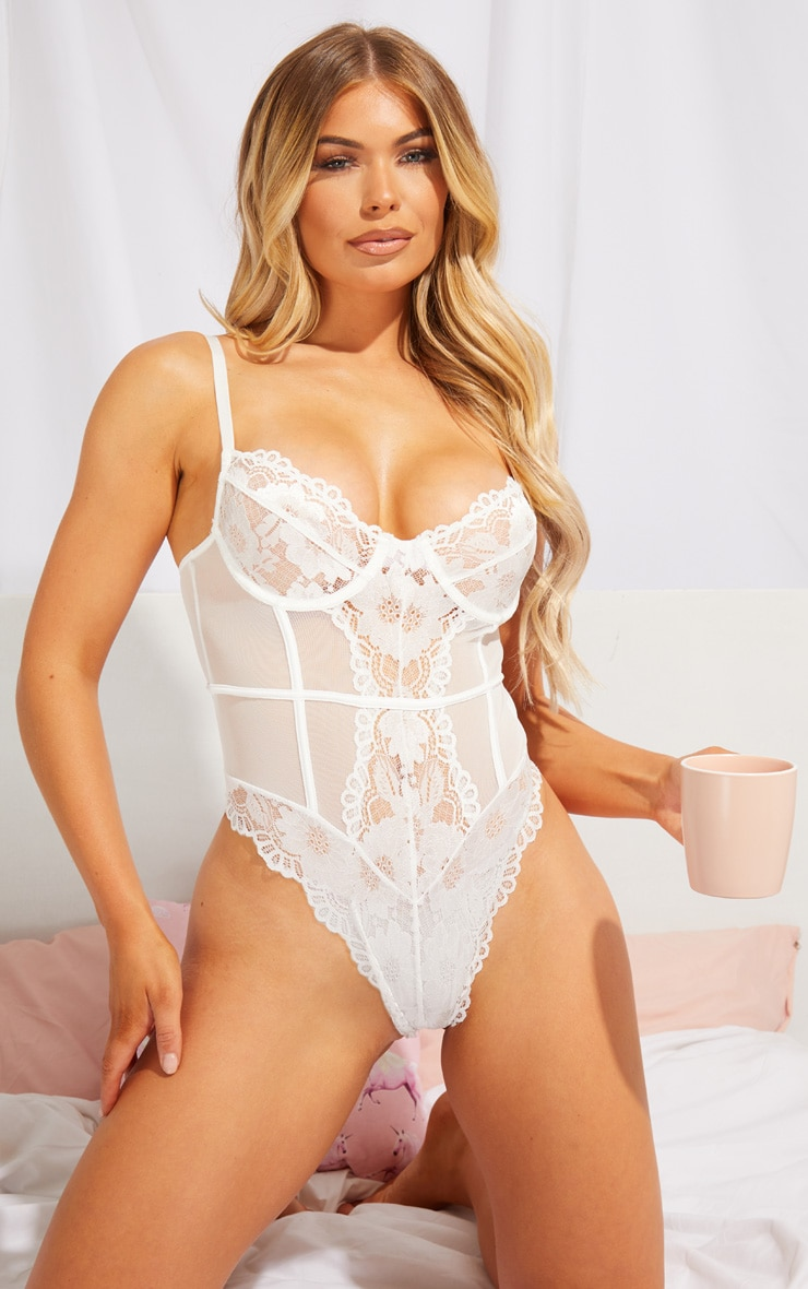White Underwired Cage Detail Lace Body 1