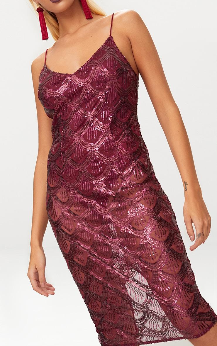 Burgundy Sequin Mesh Plunge Bodycon Midi Dress 5