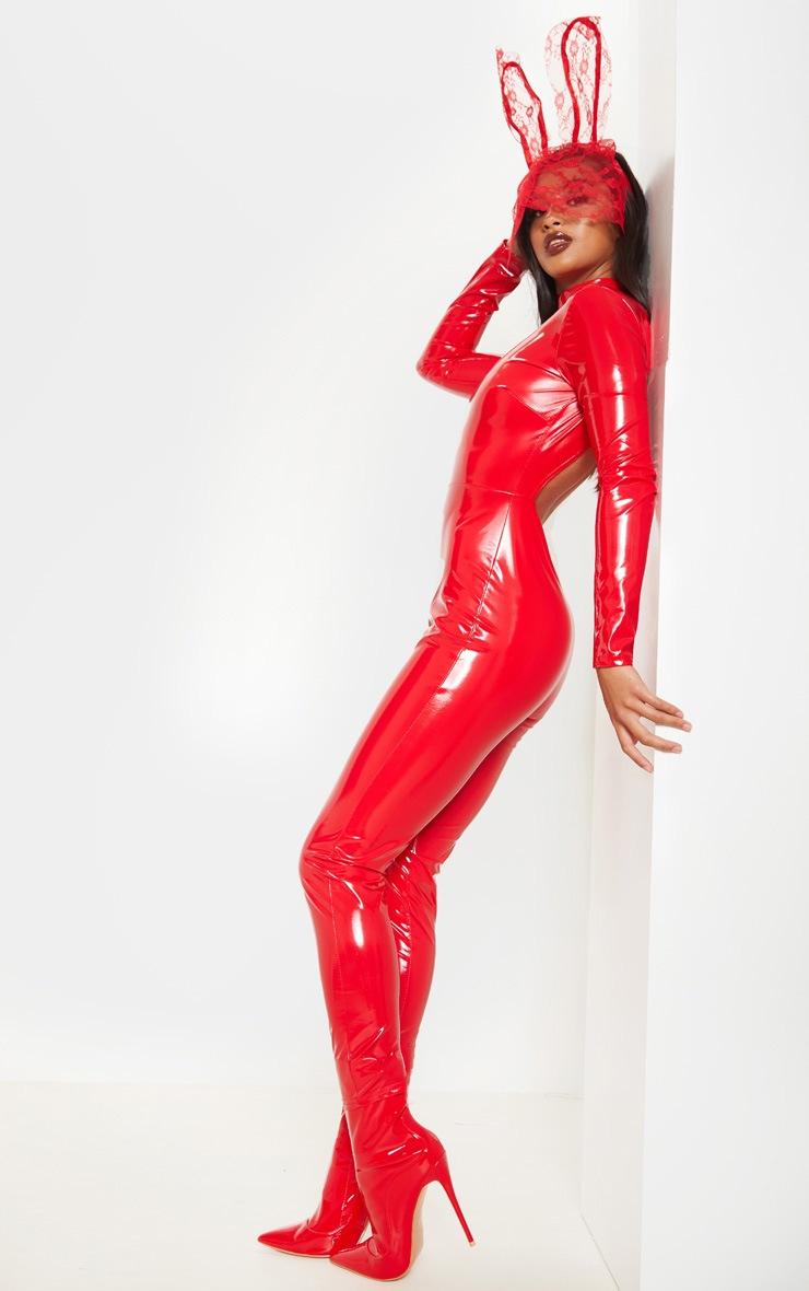 Petite Red Backless Vinyl Long Sleeve Jumpsuit 4