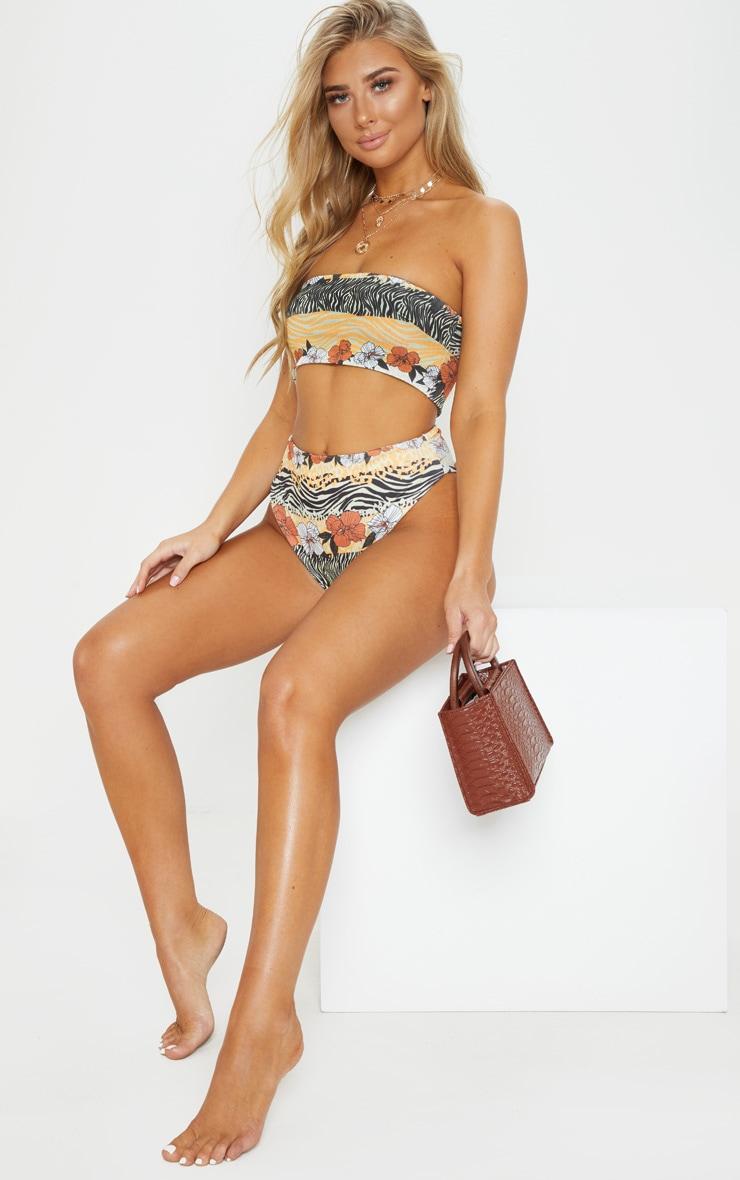 Orange Striped Floral Bandeau Bikini Top 4