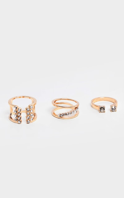 Gold Diamante Irregular Shape Three Pack Stacking Ring