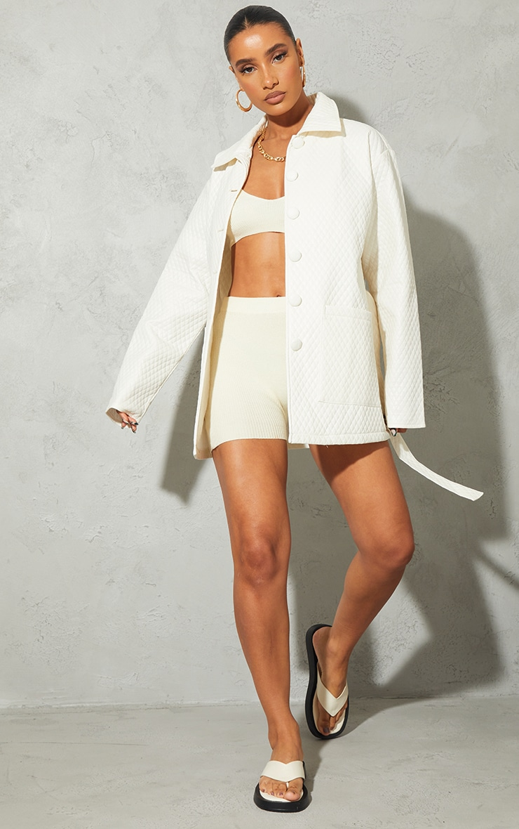 Cream PU Quilted Longline Belted Shacket 1