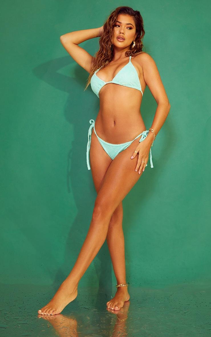 PRETTYLITTLETHING Turquoise Embossed Towel Bikini Bottoms 3