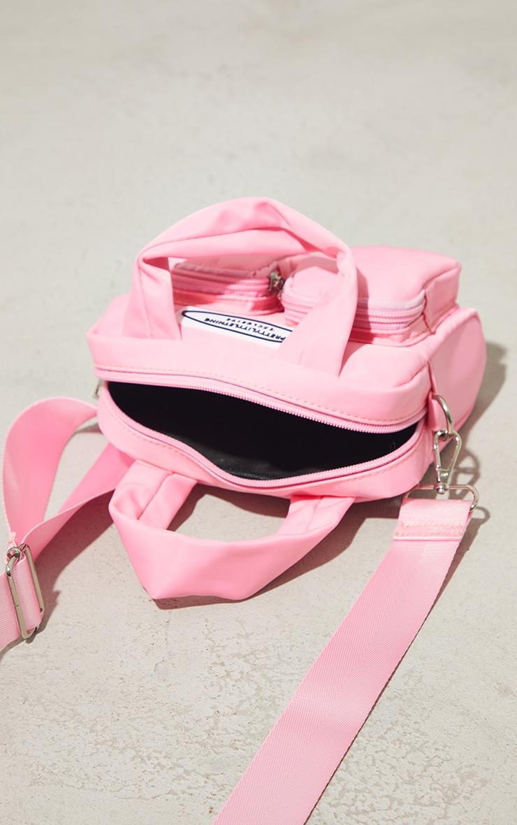 PRETTYLITTLETHING Pink Nylon Double Front Pocket Cross Body Bag 4