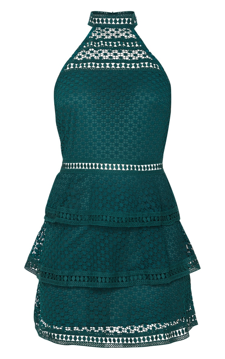 Emerald Green Lace Panel Tiered Bodycon Dress 3