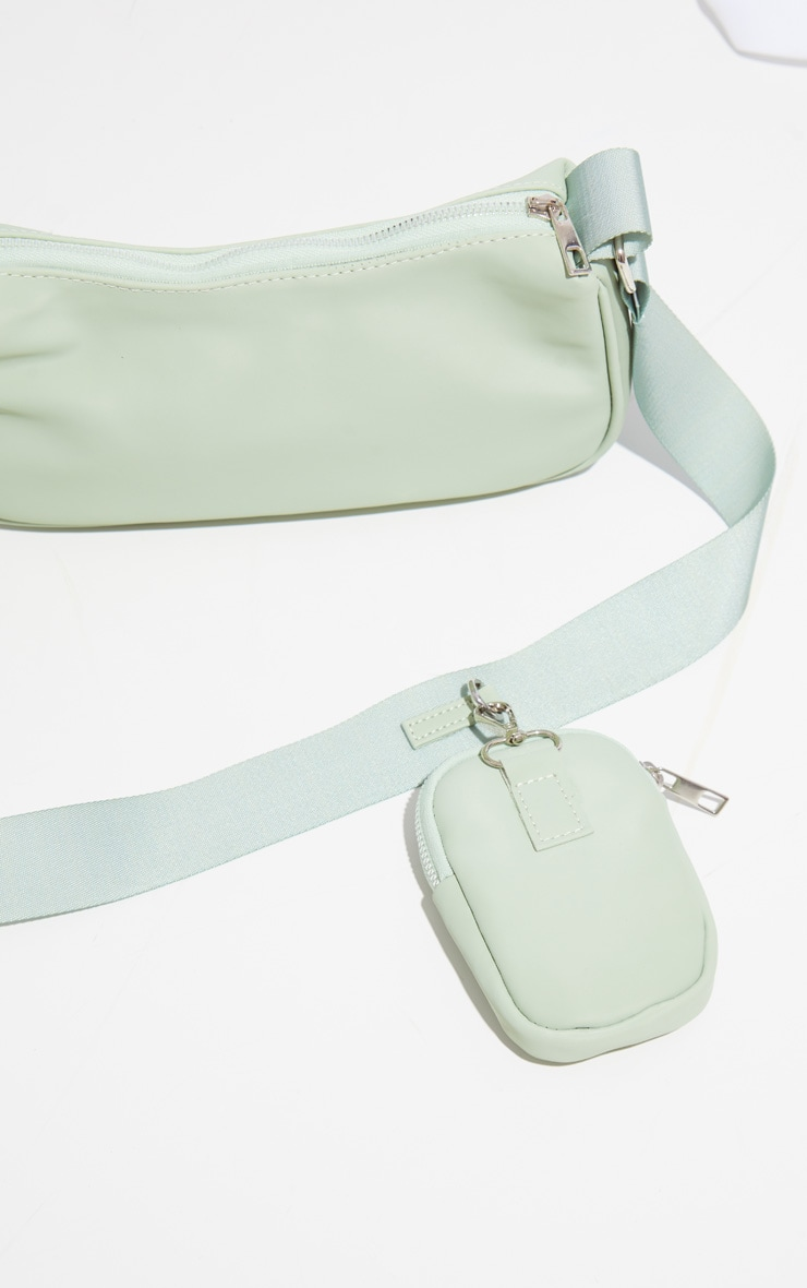 Sage Green Multi Pocket Cross Body Bag 3
