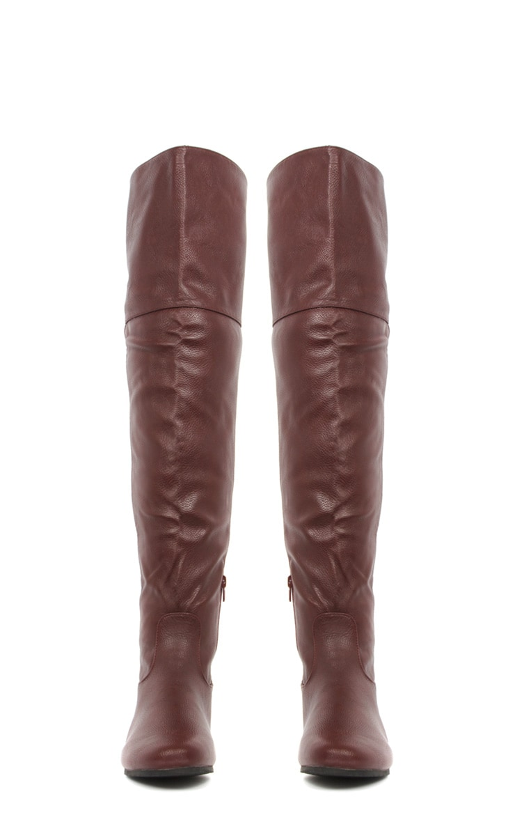 Jadie Burgundy Leather Over the Knee Boots 3