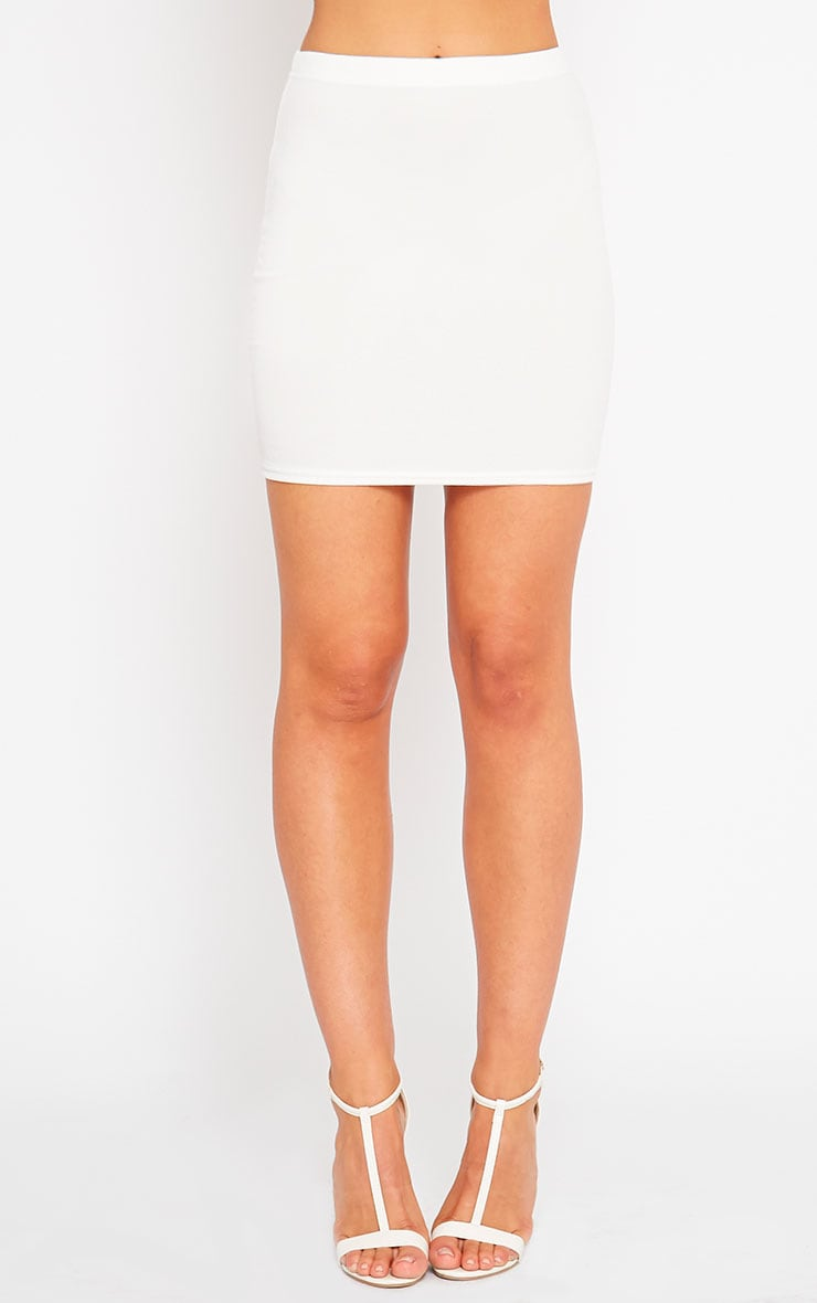 Emilia Cream Crepe Mini Skirt 2