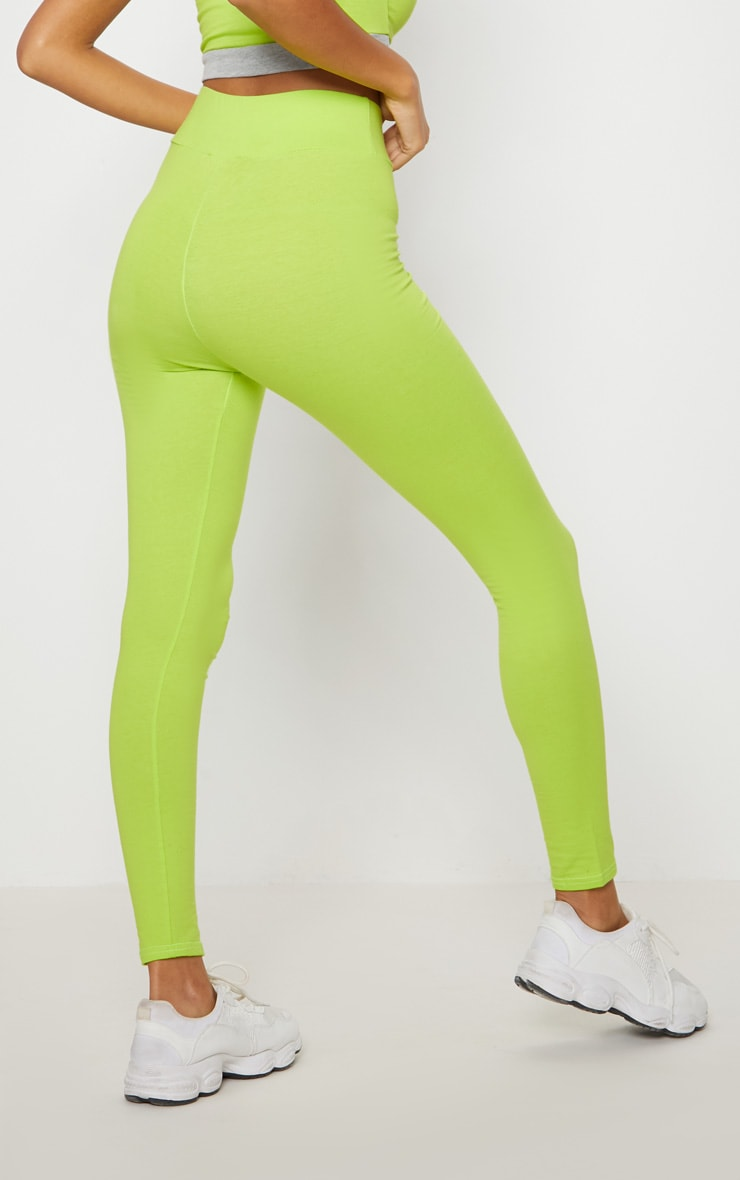 Lime Cotton High Waisted Sports Leggings 3