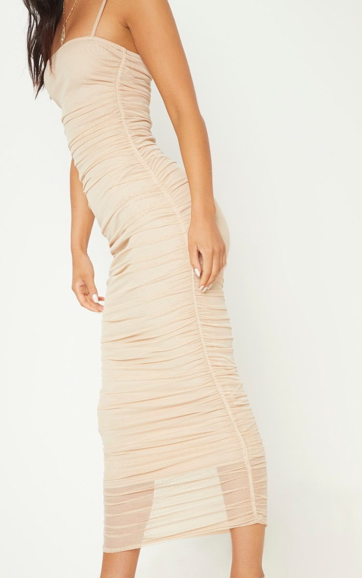 Nude Strappy Mesh Ruched Midaxi Dress 5