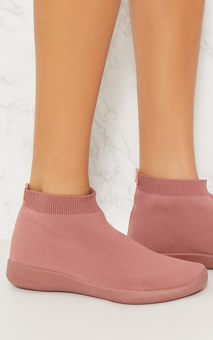 Dusty Pink Knit Sock Trainers 5