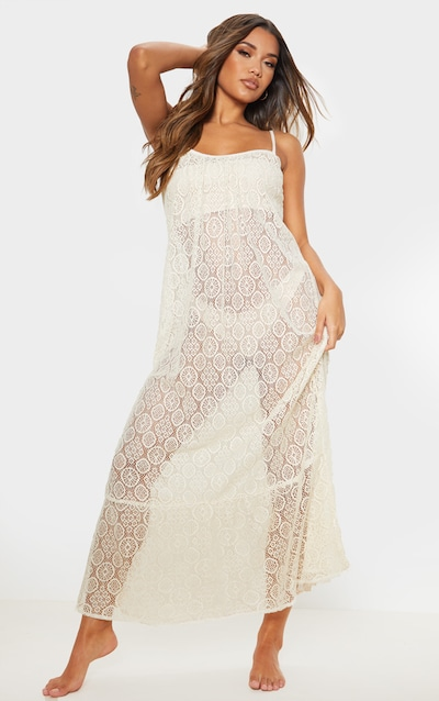 6d691b41f Stone Circle Crochet Frill Hem Beach Dress