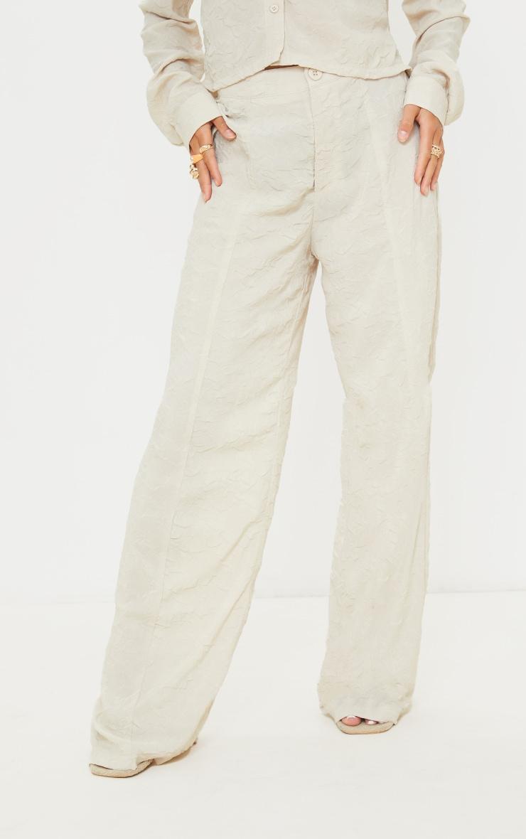 Petite Stone Lightweight Crinkle Wide Leg Trousers 2