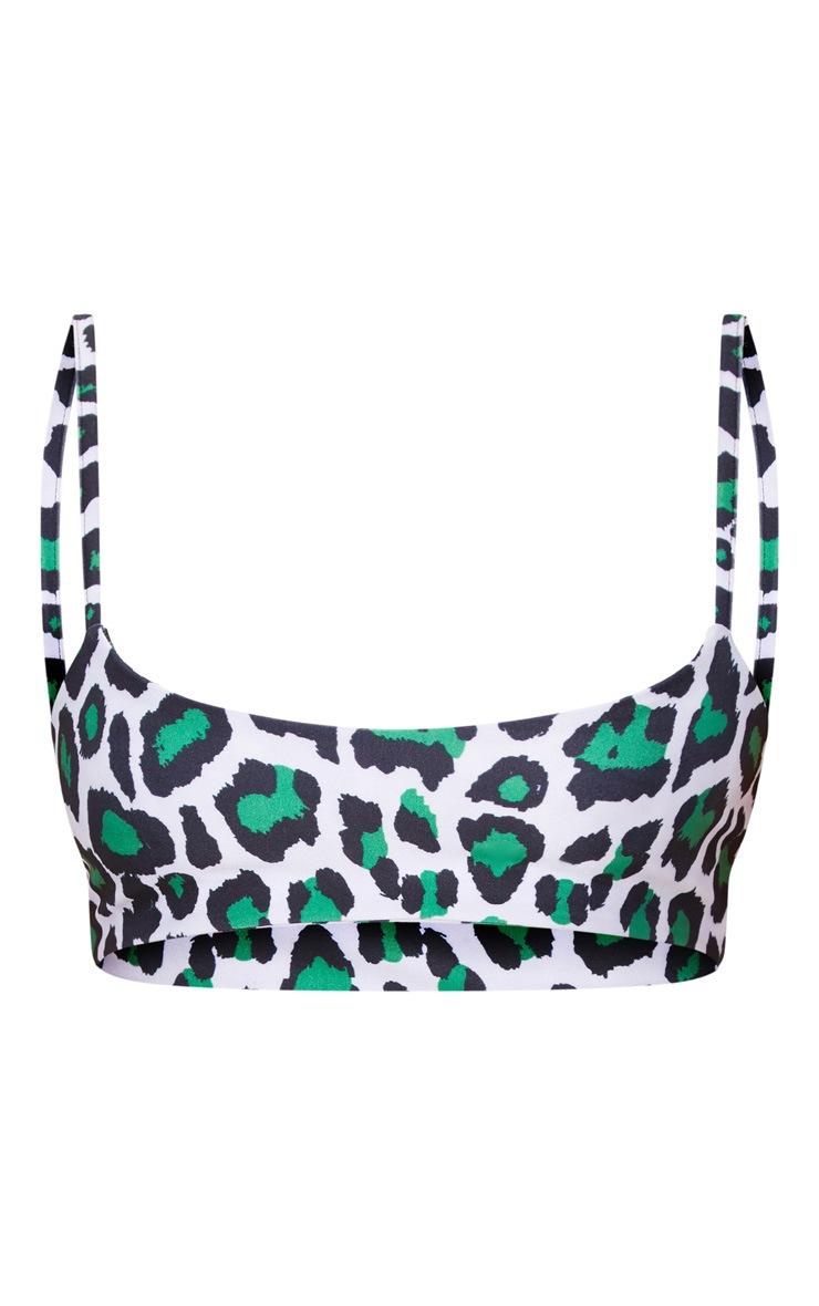 Green Cheetah Print Low Scoop Bikini Top 3