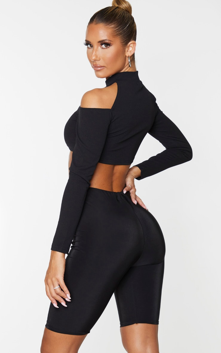 Black Crepe Bardot High Neck Cut Out Crop Top 2