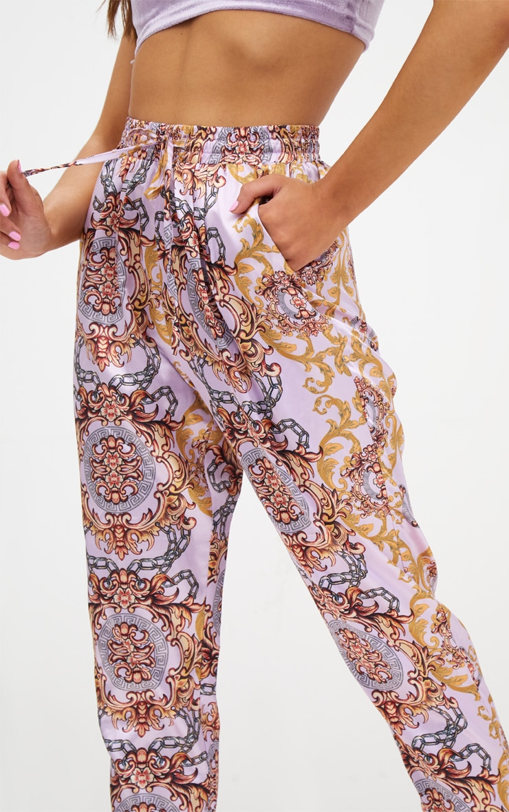 Petite Pink Printed Casual Trousers 5