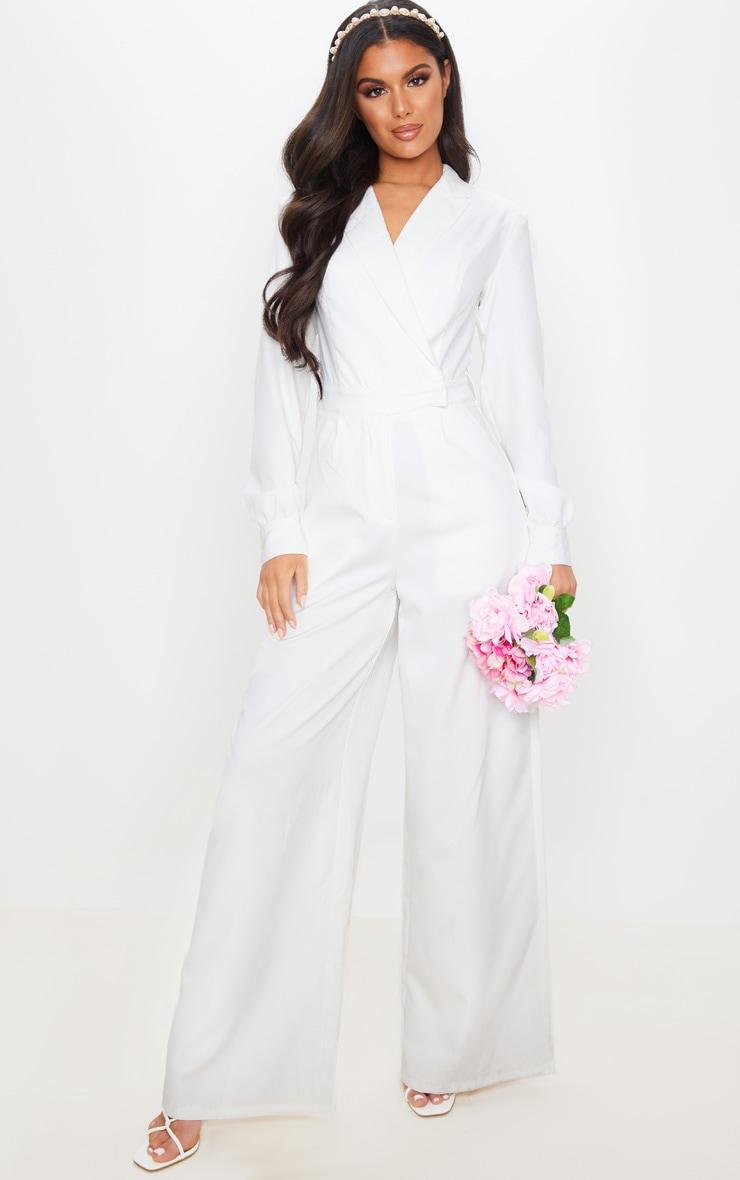 White Tailored Blazer Jumpsuit 1