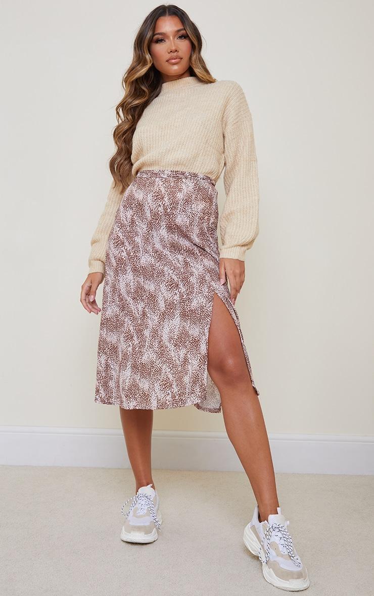 Pink Cheetah Print Floaty Midi Skirt 1